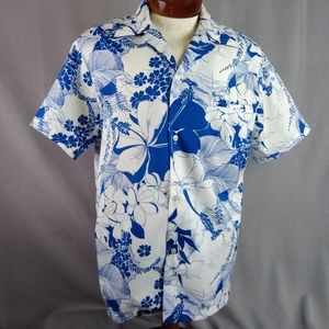Vtg Blue Floral Hawaiian Shirt Large Men's Aloha